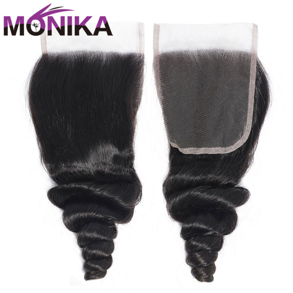 Monika 20 Inch Indian Hair Closure Loose Wave Closure Cheveux Human Hair Weave Closures 4x4 3 Part Swicc Lace Closure Non-Remy