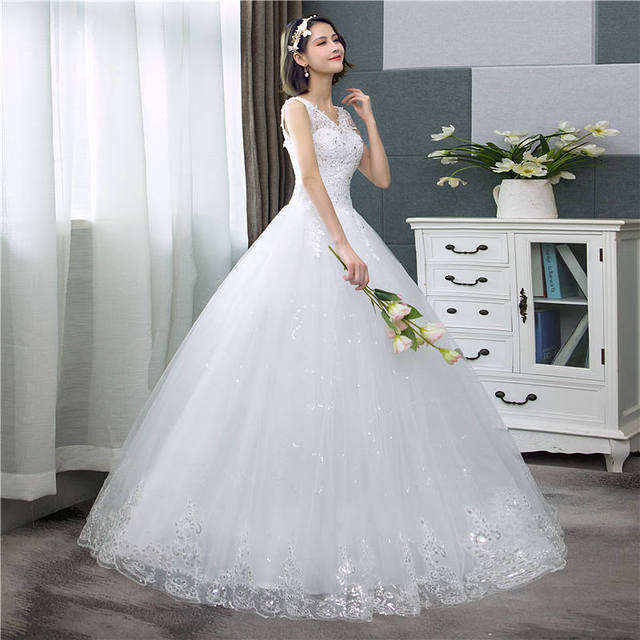 It's yiiya vestido de noiva com decote em v, vestido de casamento simples com lantejoulas brancas, barato, de noiva hs288 3