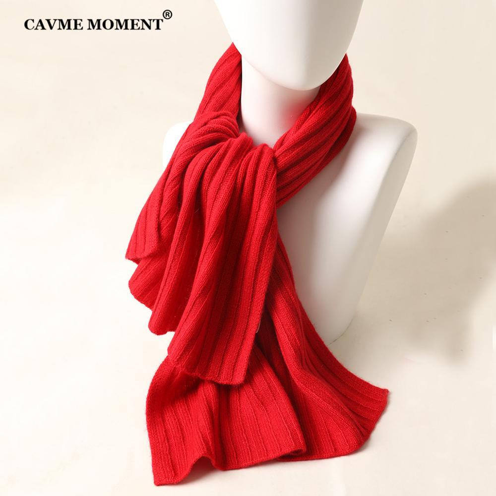 CAVME tricoté écharpe en cachemire pour enfants couleur unie Pashmina Christamas cadeau 100% cachemire Super doux tissu 36*112cm - 5