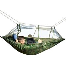 超軽量蚊帳ハンモックとストラップカラビナシングル、ダブルハンモックテントテントポータブルキャンプ屋外ギア