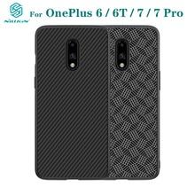 Do obudowy OnePlus 7 Pro OnePlus 7 6 6T pokrowiec NILLKIN luksusowe etui syntetyczne włókno węglowe PP plastik tylna obudowa telefonu do jednego Plus7