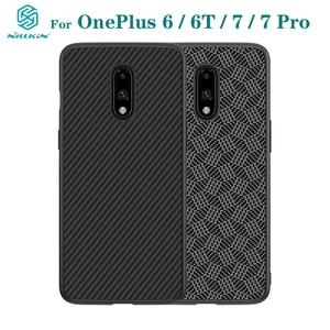 Image 1 - Pour OnePlus 7 Pro étui OnePlus 7 6 6T couverture NILLKIN étui de luxe fibre synthétique carbone PP plastique téléphone couverture arrière pour un Plus7