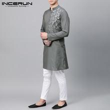 Мужские модные мусульманские кафтановые рубашки повседневные