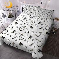 BlessLiving Cosmetics Perfume Bedding Set Fashion Girls Duvet Cover Lipstick Hearts Print Bed Set 3pcs Bedclothes Bedroom Decor