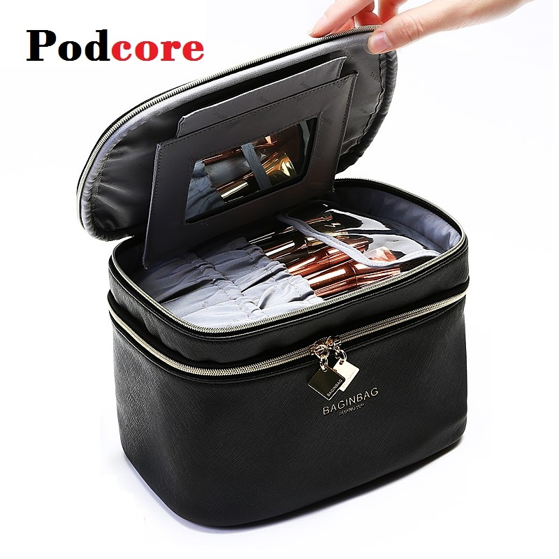 Fashion Cosmetic Bag Cases Large Kotak Make Up Box Black Women Waterproof Toiletry Pouch Travel Storage Bags With Handle