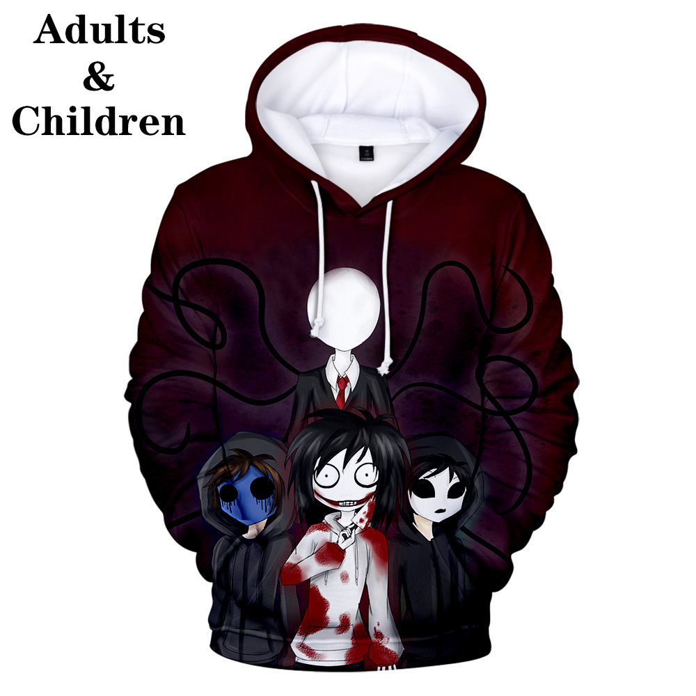 Suitable Creepypasta Fashion Children 3D Hoodies Kids Men Women Harajuku 3D Hooded Boy Girl Cute Autumn Sweatshirts Top Pullover