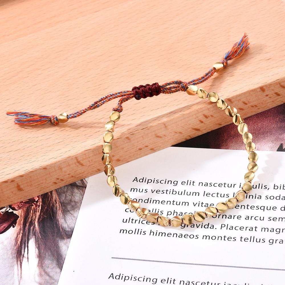 Handmade Tibetan Buddhist Braided Thread Bracelets Cotton Copper Beads Lucky Rope for Women Men Adjustable Size Jewelry Gift