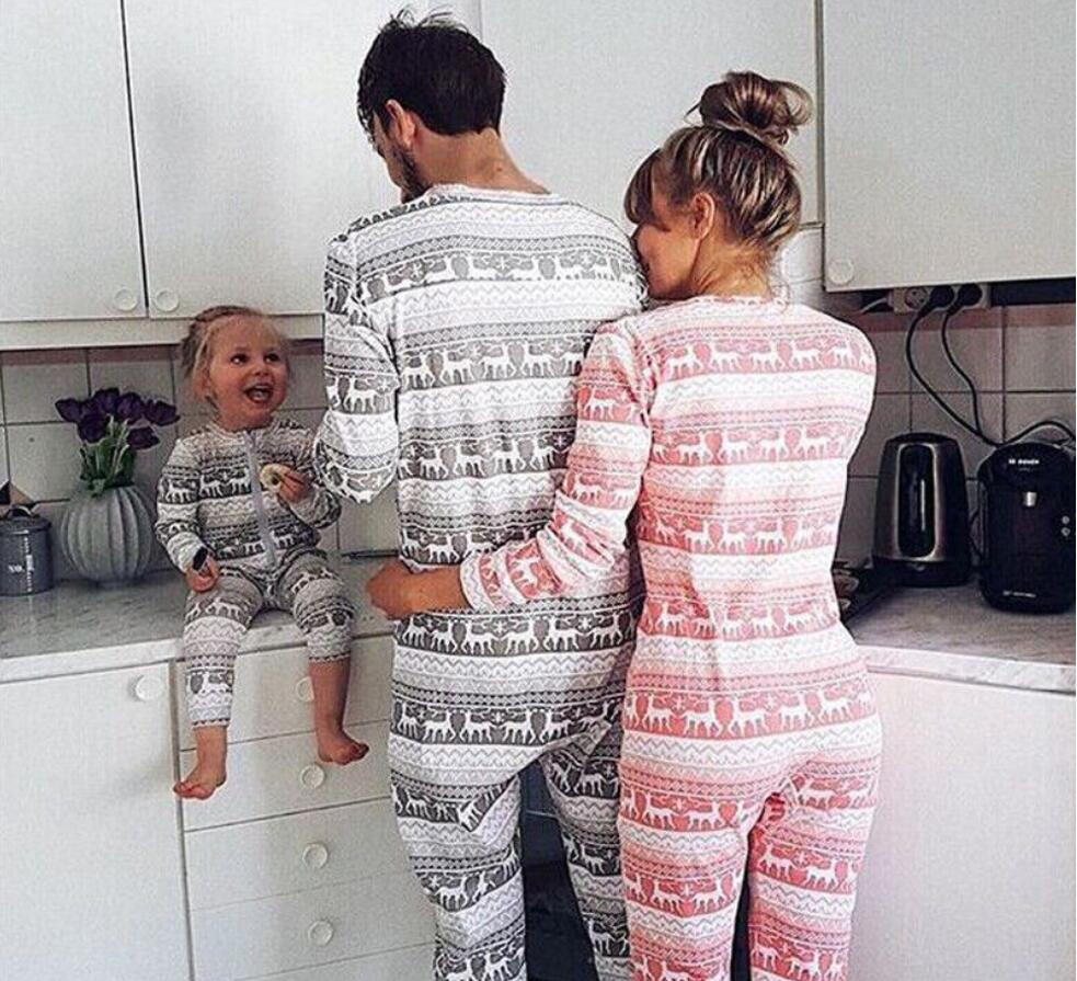 Christmas Family Matching Pajamas Set Women Men Kid Adult Zipper Rompers Cotton Elf Sleepwear Nightwear Clothes