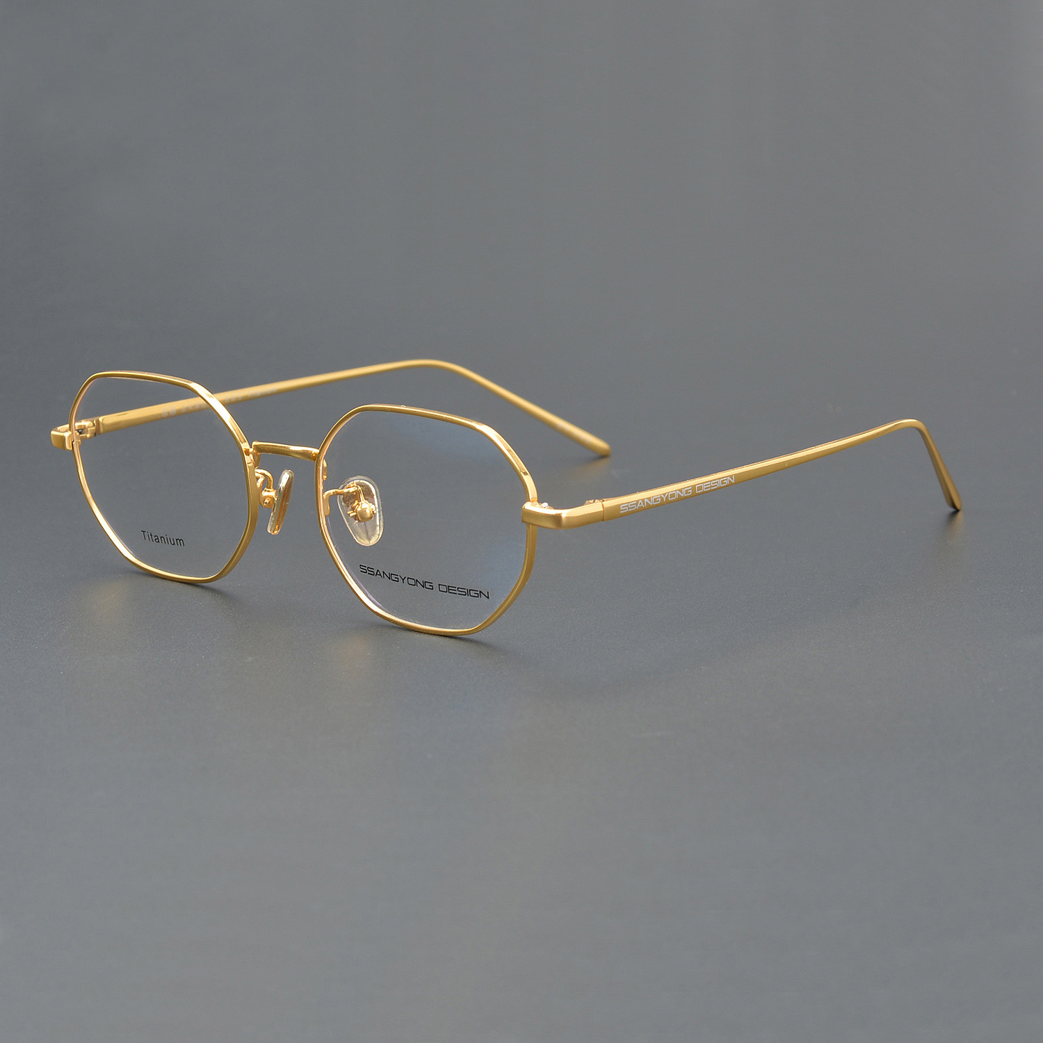 Pure Titanium Eyeglasses Men Women Unisex Gold Polygon Glasses Frame Man Fashion Clear Lens Spectacles Prescription Optic Nerd