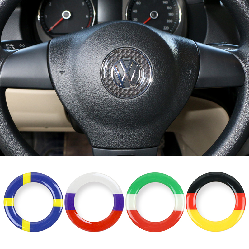 Steering Wheel Car Sticker Germany Flag Decal Emblem For Volkswagen VW POLO BEETLE TOURAN TOUAREG CADDY