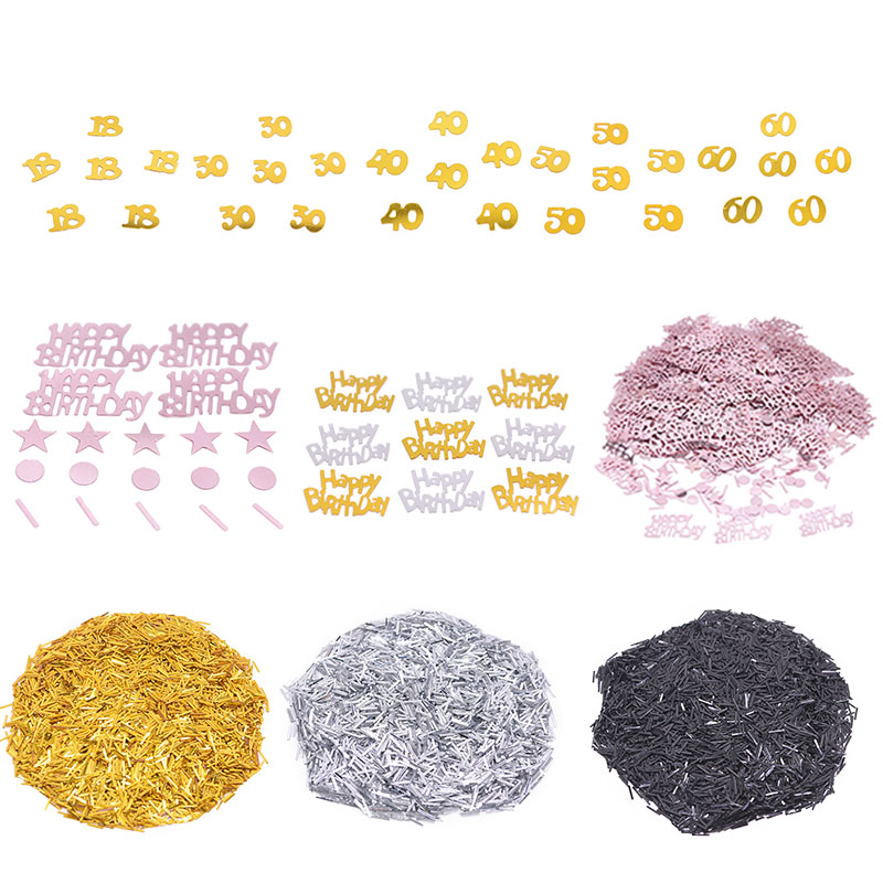 Gold Silver Rose Gold 18 <font><b>30</b></font> 40 50 60 Digital <font><b>Confetti</b></font> Happy Birthday Stars Table <font><b>Confetti</b></font> for Wedding Birthday Party Table Decor image