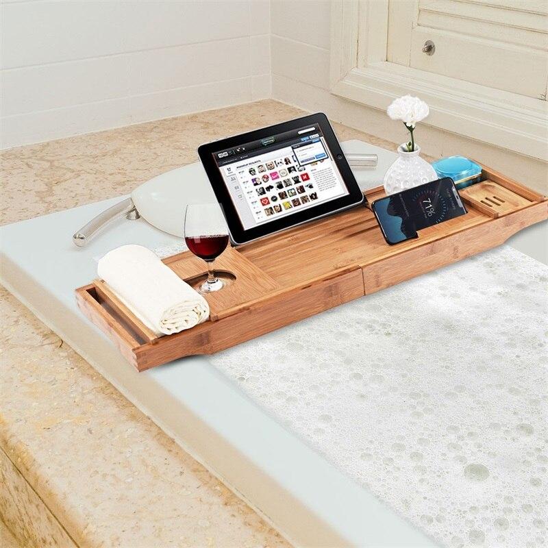 Plateau de caddie extensible de haute qualité en bambou naturel Premium de luxe avec plateau de bain polyvalent porte-savon
