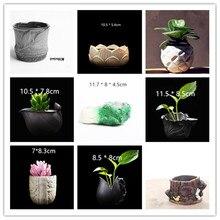 Natural Plant Concrete Pot Molds DIY 3D Cactus Succulents Flower Planter Silicon