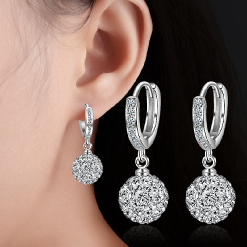 Silver Color Earrings Jewelry Fashion Clear Crystal Zircon Drill Ball Round Stud Earrings For Women Girls Kids Lady Gift