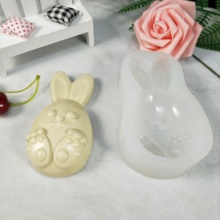 DW0190 PRZY Silicone Mold Lovely Easter Bunny Rabbit Bunny Soap Molds Clay Resin Gypsum Chocolate Candle Candy Mold