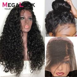 Megalook Wasser Welle perücken Spitze Front Echthaar Perücke mit Baby Haar 180% Dichte 28 30 zoll Remy Haar Perücke für frauen Natürliche Farbe