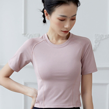 Women Crop Top Yoga Shirt Short Sleeves Sport Women Slim Top for Fitness Breathable Back Gauze Dry Fit Sportswear simple design round collar printed short sleeves crop top for women