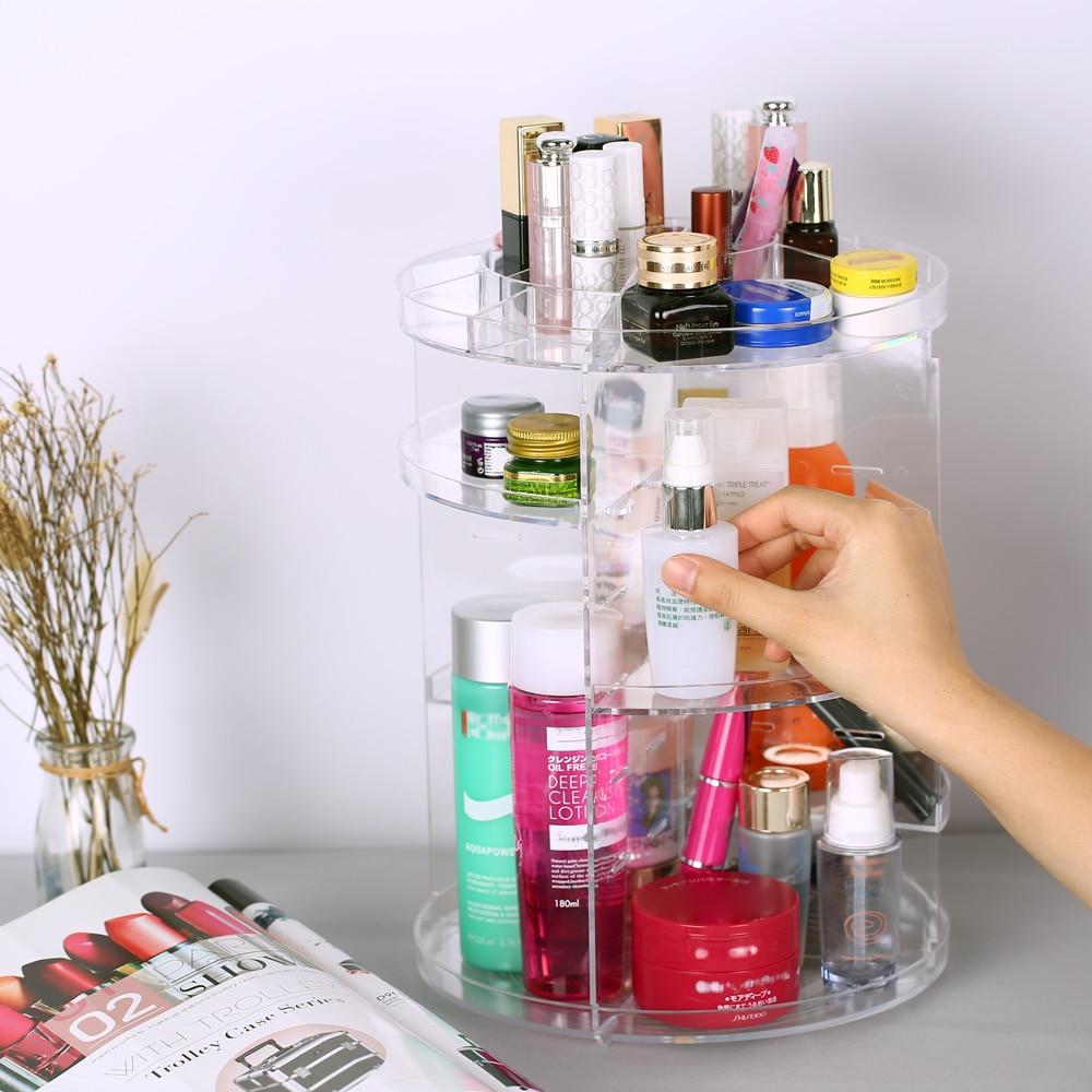360 Degree Makeup Organizer Rotation Multi Functional Cosmetics Storage Box DIY Adjustable Height for Beauty Supplies Cosmetics|Makeup Organizers|   - title=