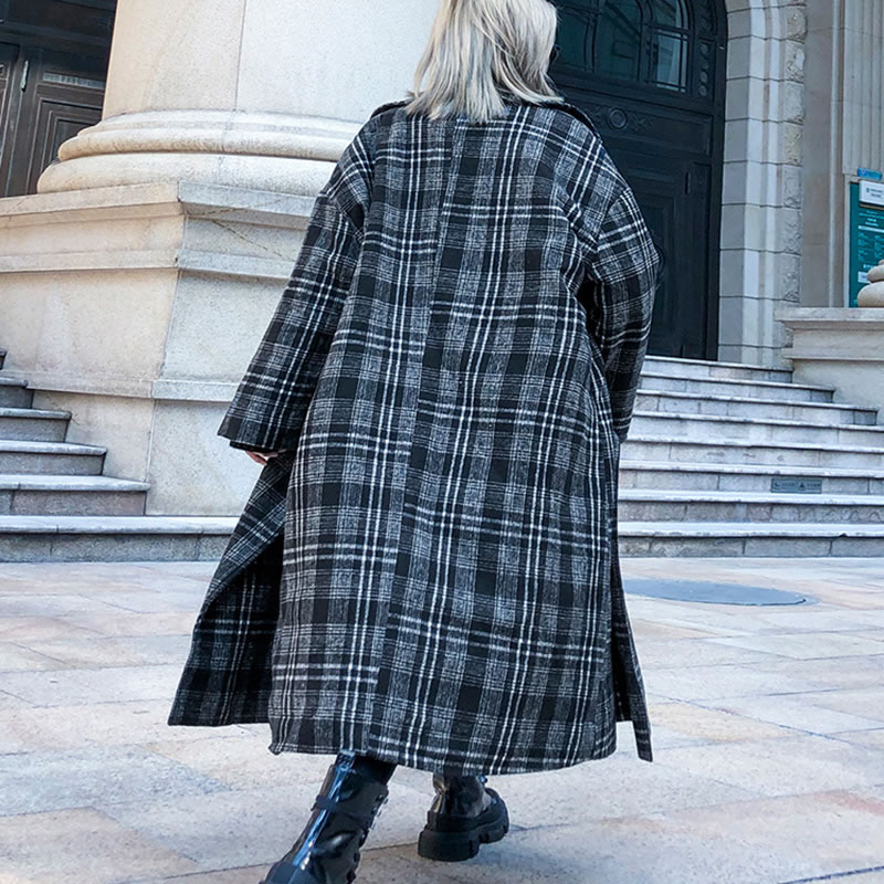 Image 2 - XITAO Vintage  Lattice Woolen Coat Thicken Keep Warm Autumn  Winter Women Coats Long Plus Size Top Women Streetwear GCC2589Wool