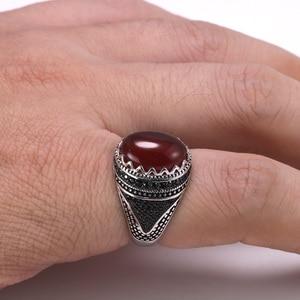 Image 5 - Garantili % 925 gümüş yüzük taç Retro Vintage erkekler için türk yüzükler doğal taşlar ile siyah yeşil kırmızı renk Ringen