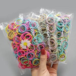 100 pcs/lot Colorful Black Nylon Small hair Gum ties Child Ponytail Holder Rubber Bands Headband Elastic Hair Bands For Kid Girl