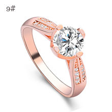 CZ Crystals Wedding Rings for women Micro Paved AAA Zircon Engagement Ring Female Jewelry Anel Bague Female Rose gold rings(China)