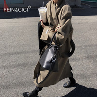 100% wool coat warm winter camel black maxi long outfit Wool Blends coat high quality oversized