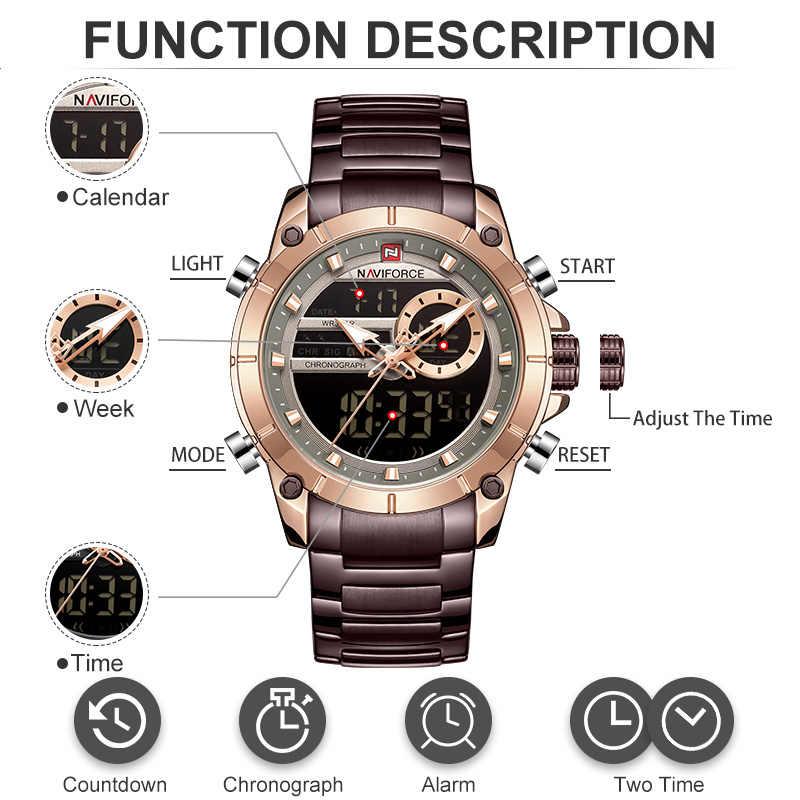 Naviforce男性腕時計トップの高級ブランドメンズスポーツ軍はフルスチール防水クォーツデジタル時計レロジオmasculino