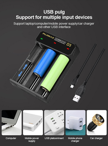 Image 4 - PHOMAX 18650 3 slots USB cable battery LED smart display fast charger 14500 26700 26500 IMR/Li ion rechargeable battery charger
