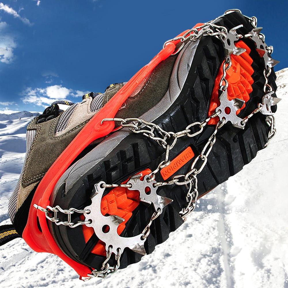 Outdoor Snowshoes Climbing Antiskid Crampons Winter Walk 18 Teeth Ice Fishing Manganese Stainless Steel Slip Shoe Covers