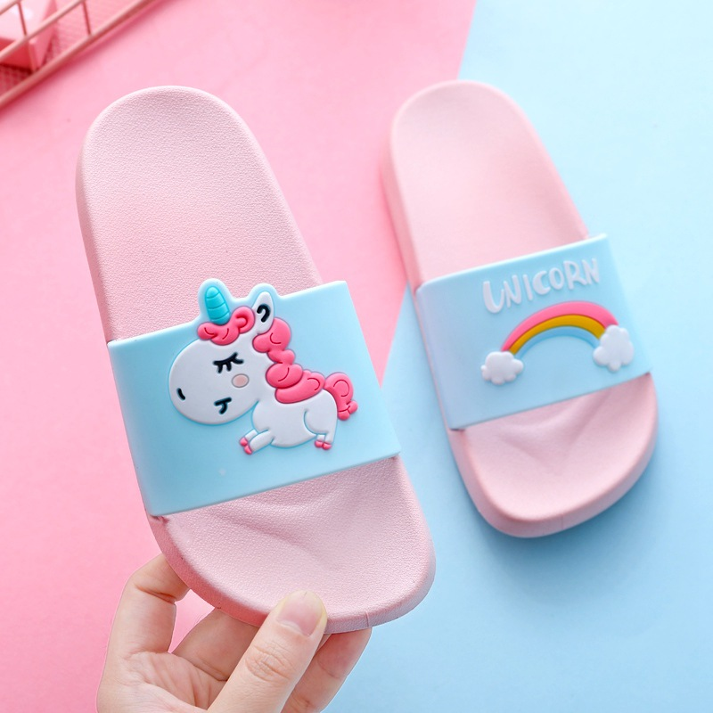 Slippers Kids Summer Girl Home Slippers Boys Flip Flop Children Indoor Cute Sandals Cartoon Unicorn Rainbow Non-slip Beach Shoes