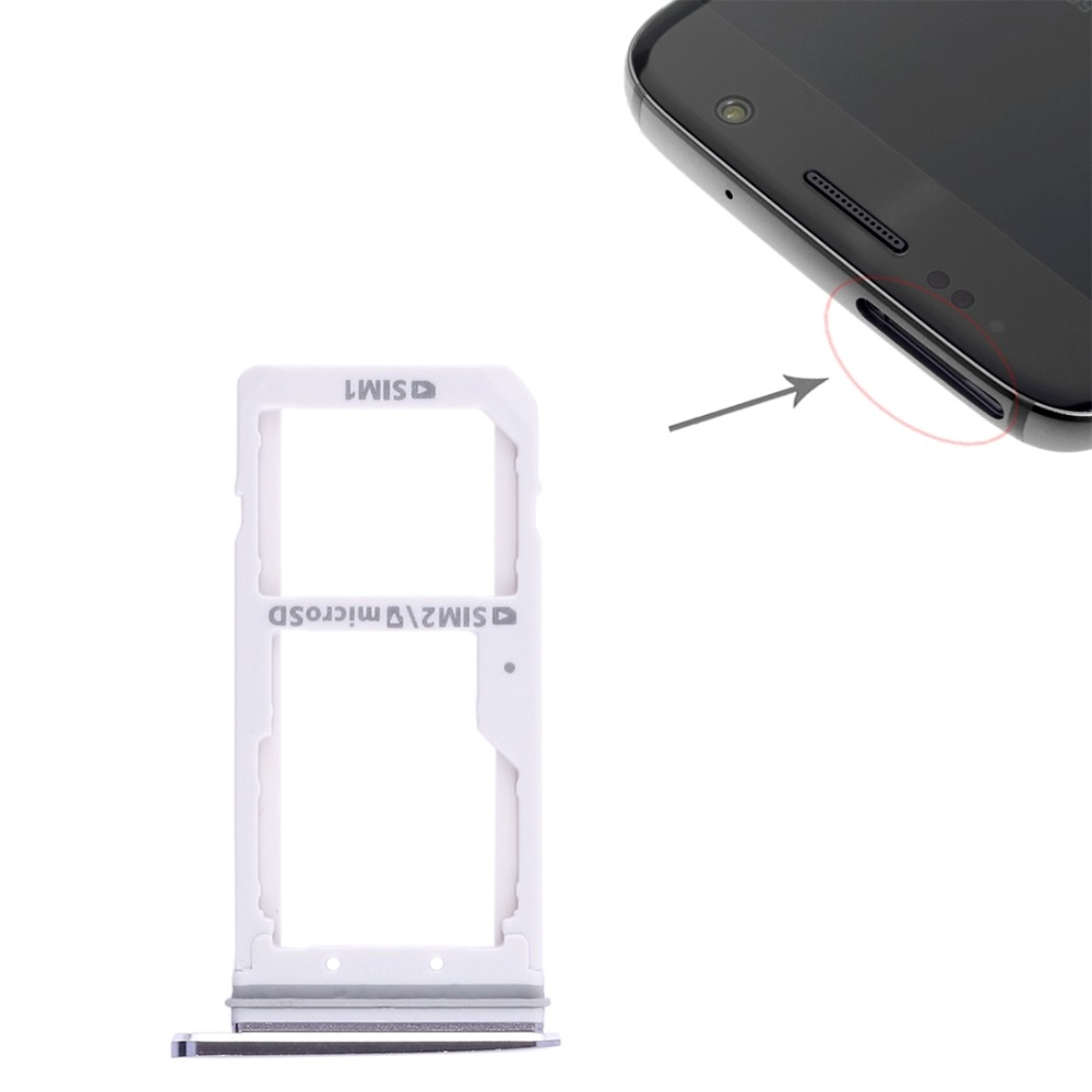 1Pcs High quality For Galaxy S7 SIM Card Tray + Nano SIM & Micro SD Card Tray Slot Holder Slot Adapter Replacement Part image