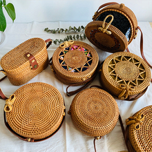 Круглая плетеная соломенная сумка из ротанга, женские сумки, дорожные маленькие пляжные сумки, женские летние открытые ручные сумки на плечо