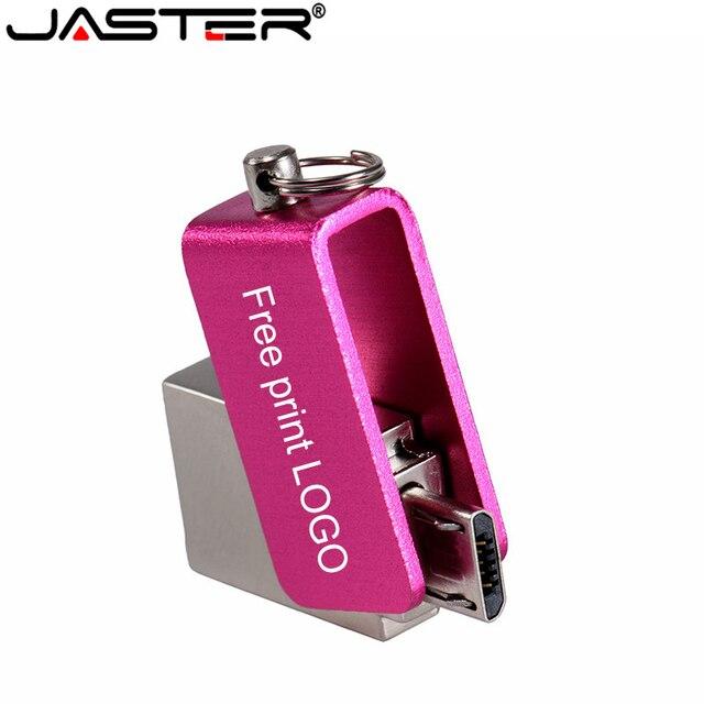 JASTER Metall drehbare USB flash drive 32GB 64GB bunte Stift drive USB 16GB 8GB 4GB memory stick USB OTG flash-disk Nach LOGO