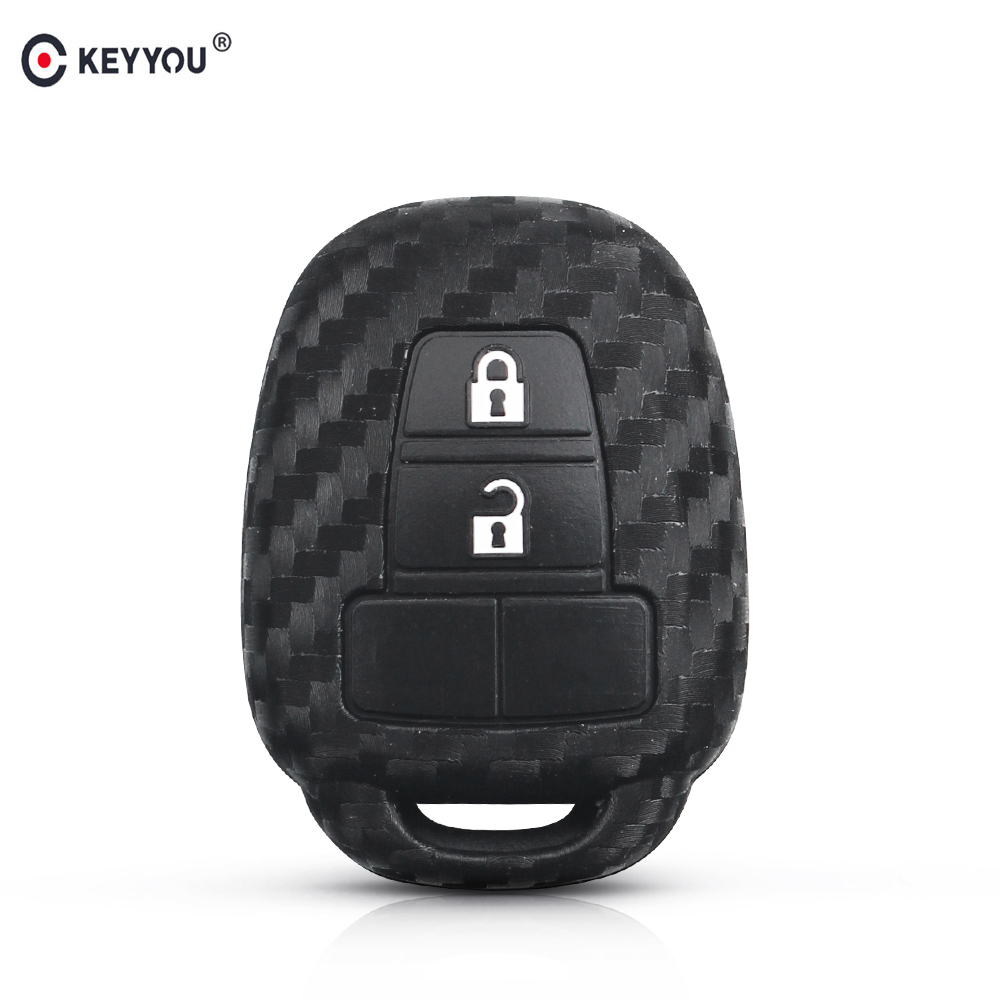 KEYYOU Silicone Car <font><b>Key</b></font> <font><b>Case</b></font> For <font><b>Toyota</b></font> CAMRY <font><b>RAV4</b></font> Prius Corolla 2012 2013 <font><b>2014</b></font> 2015 TOY43 Blade Shell Holder Protective Cover image