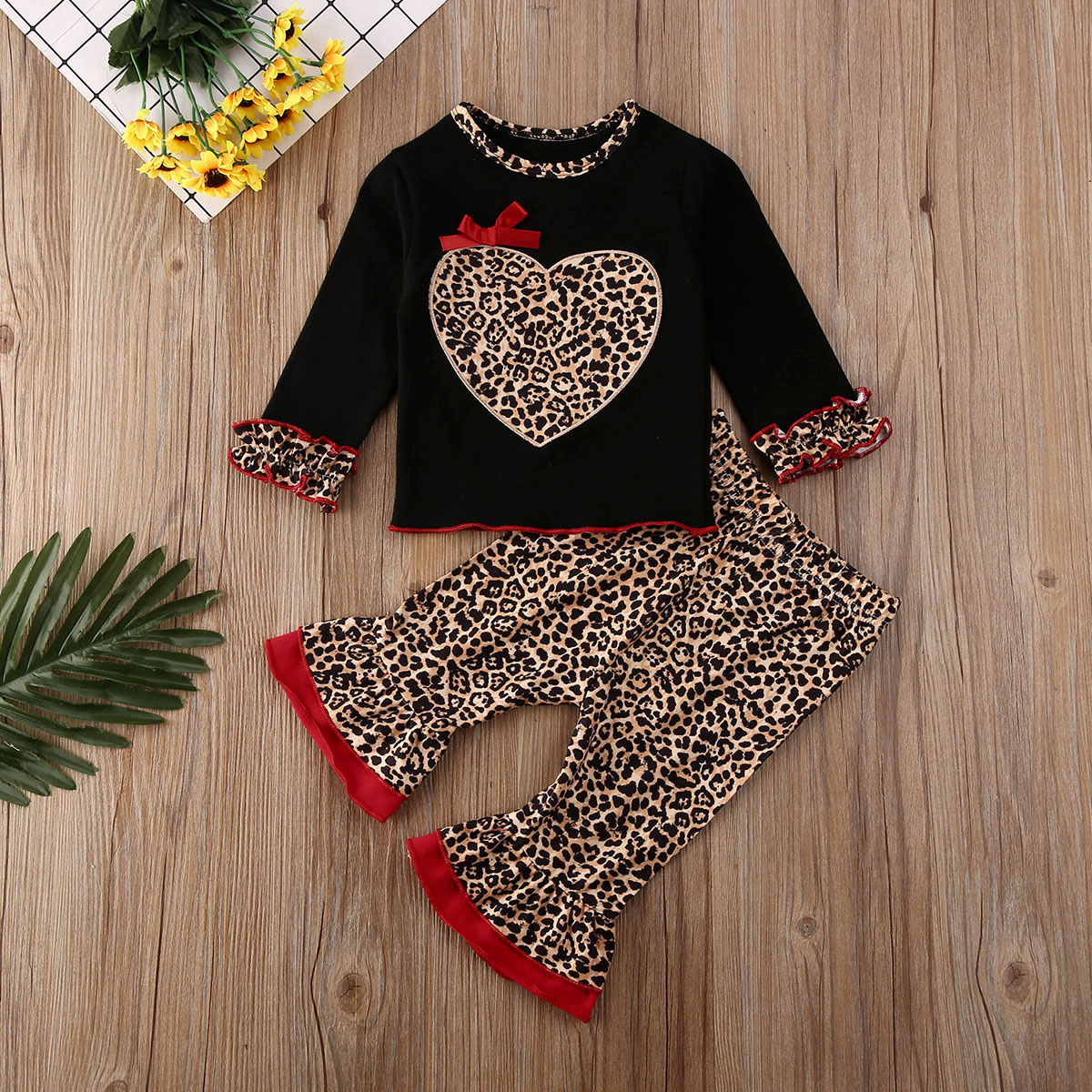 2PCS Girls Leopard Heart Printed Tops Pant Sets Toddler Kids Tracksuits Outfits
