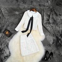 Goodlishowsi Autumn Sweet Women Sets Look Younger Than Your Age Peter Pan Collar Short Coat Tops + Pencil Skirt Matching Sets