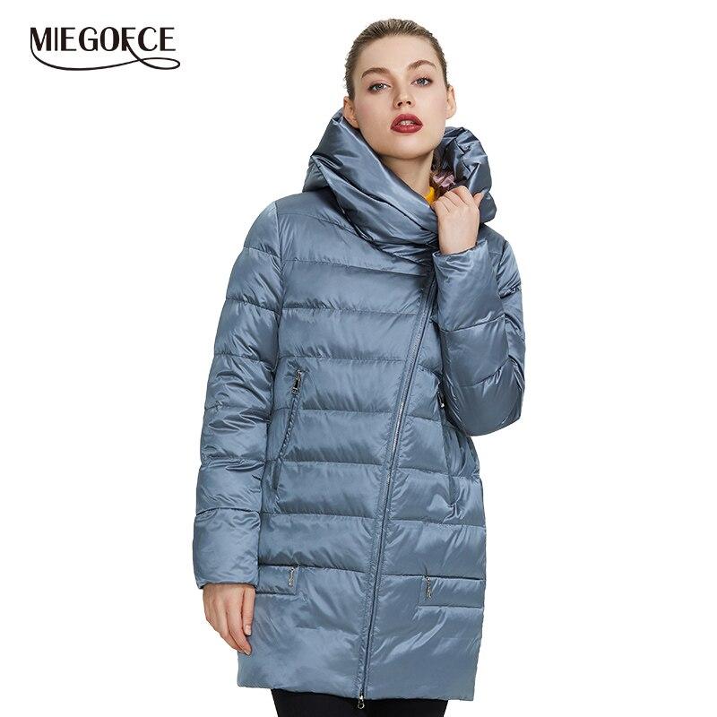 MIEGOFCE 2019 hiver Collection femme veste chaude femme manteaux et vestes hiver coupe-vent col montant avec capuche