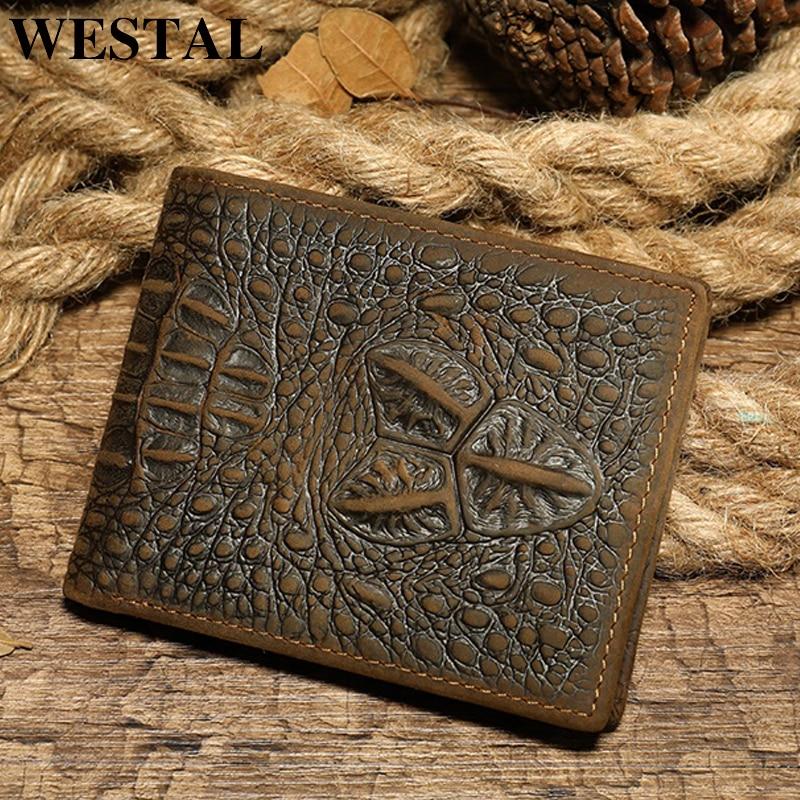 WESTAL Men's Wallet Genuine Leather Purse For Men Vingate Crocodile Pattern Wallet Short Coin Purse Wallet Clutch Money Bag 7001