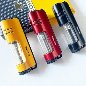 COHIBA Cigar Lighter Jet Flame Portable Butane torch Lighter with punch Mini Plastic Cigarette lighter for Gift Box
