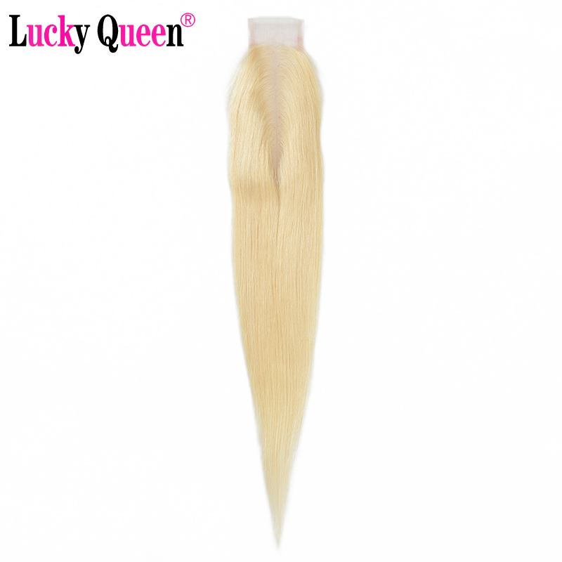 Lucky Queen Straight Brazilian Blonde Hair 2*6 Lace Closure With Baby Hair For Black Women 10-18 Inch Middle Part 613 Remy Hair image