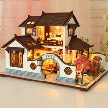 Kids Early Education Learning Toys 3D Wooden Dollhouse Ancient Town DIY Miniature Model Christmas Gifts Toys For kids