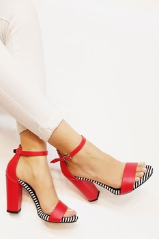 Mst-037 Red White open-toed high-heeled women pumps shoes ladies party shoes heels wedding
