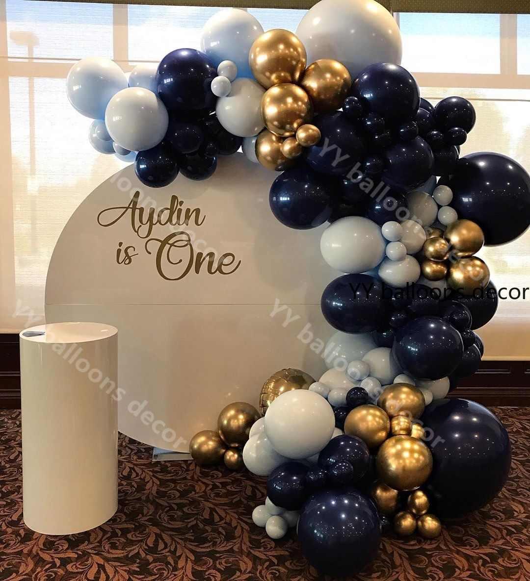 125pcs ร้อน Maca Navy Blue GOLD Pastel Global ลูกโป่ง Garland Arch ชุดวันเกิดงานแต่งงาน Baby Shower ครบรอบ PARTY ตกแต่ง