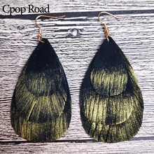 Cpop Three Layers Gold Glitter Genuine Goat Leather Earrings Women Nature Feather Tassel Elegant Dangle Fashion Jewelry