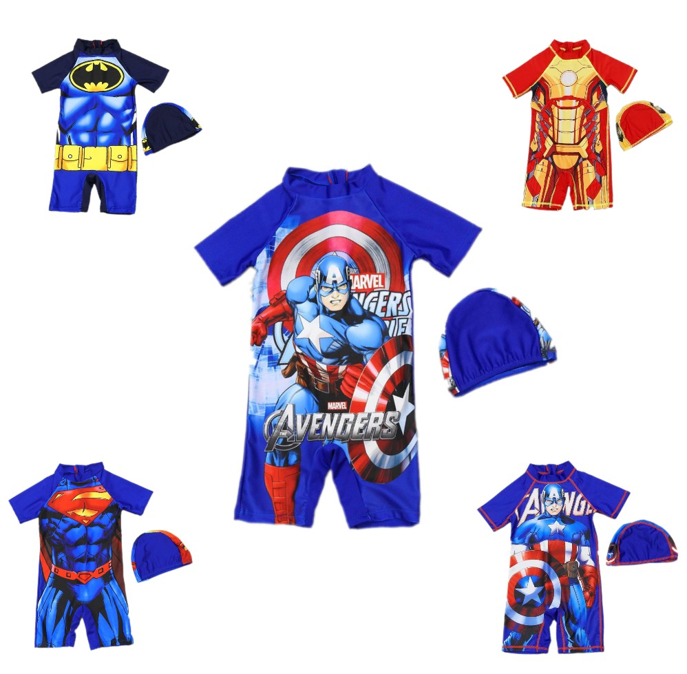 Swimwear Kids One Piece Baby Swimwear Spider-Man Shark Crab Swimming Boys Beachwear Baby Sunscreen Quick Dry Bathing Suit