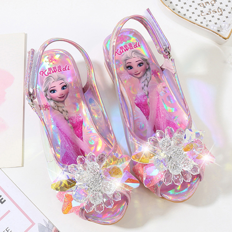 Children's 3cm High Heels Princess Shoes  Summer New Girls Sandals Baby Children's Shoes Little Girls Crystal Shoes