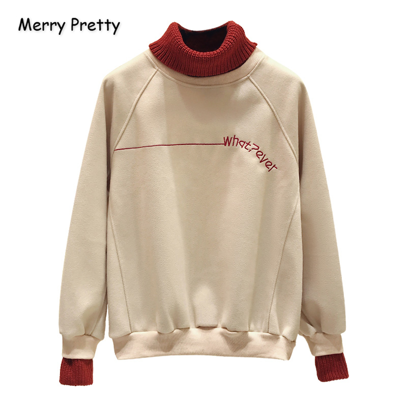 Women's Letter Embroidery Turtleneck Hoodies Sweatshirts Femme Patchwork Pullovers 2020 New Casual Loose Tracksuit MERRY PRETTY