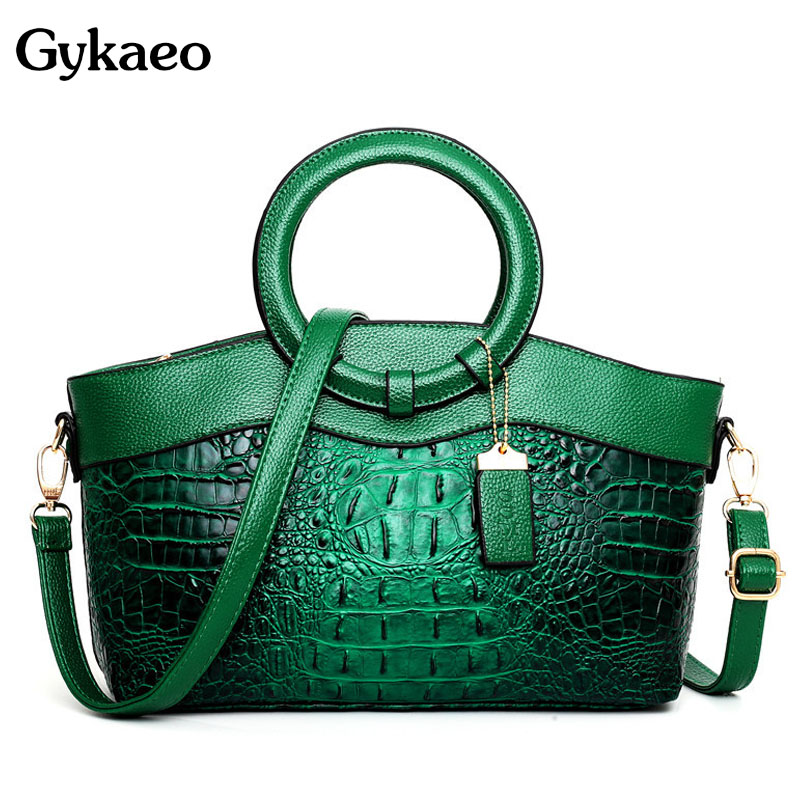 Gykaeo European And American Style Crocodile Pattern Women Leather Handbags Ladies Green Color Party Shoulder Bags Sac A Main
