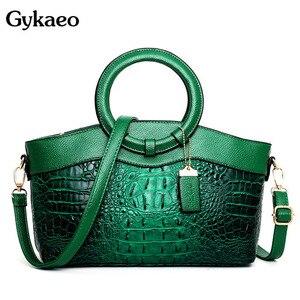 Image 1 - Gykaeo Luxury Handbags Women Bags Designer Crocodile Woman Leather Handbag Ladies Green Party Tote Shoulder Bags Sac A Main 2020